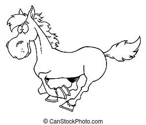 ציור היתולי, לרוץ, סוס, תאר