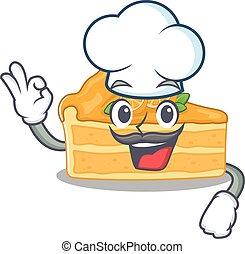 ציור היתולי, עוגת גבינה, אופי, תפוז, לבן, כובע של טבח, חמוד, ללבוש
