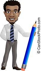ציור היתולי, עפרון, להחזיק, איש עסקים