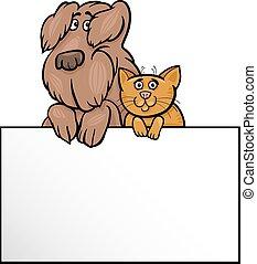 ציור היתולי, עצב, כלב, כרטיס, חתול