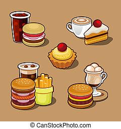 ציור היתולי, קבע, מהיר, צבעוני, אוכל.