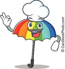 ציור היתולי, קשת, אופי, לבן, כובע של טבח, חמוד, מטריה, ללבוש
