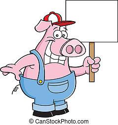 ציור היתולי, *s*, סרבל, להחזיק, חזיר