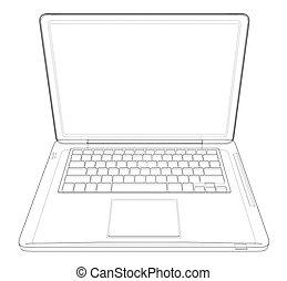 ציור, וקטור, laptop., דוגמה, תאר