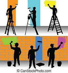 ציירים, צבע, עובדים, שונה
