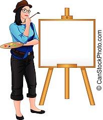 צייר, אריג גס, להניח, חזית, ילדה