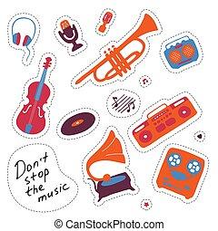 צייר, העבר, symbols., orchectra, stickers., signs., מוסיקה, וקטור