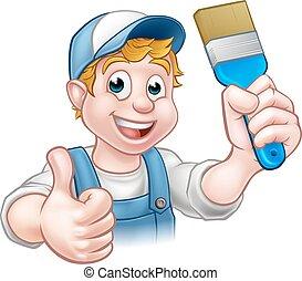 צייר, מכחול, דקורטור, להחזיק, מתקן כל דבר