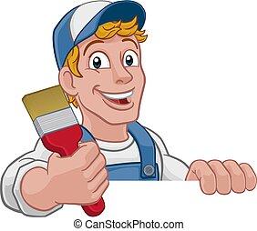 צייר, מכחול, דקורטור, מתקן כל דבר, ציור היתולי, איש