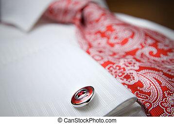 צילום מקרוב, חולצה, צילום, שבץ, קשור, אדום לבן