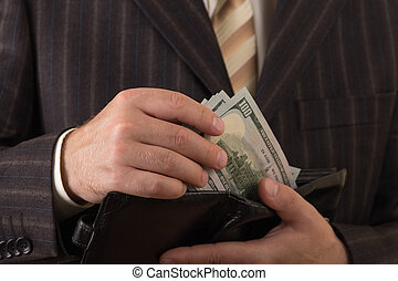 צילום מקרוב, שלו, לוקח, כסף, ארנק., איש עסקים, out