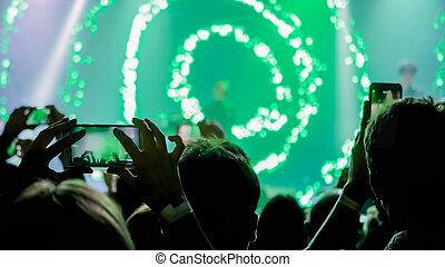 צילום, smartphone, וידאו, הופעה, או, מוסיקה, אנשים, לקחת, חיה, הקלטה