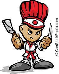 צלה, בישול, דמות, היבאצ'י, צפה, טבח, קמיע, וקטור, קבע, ציור היתולי, utinsils