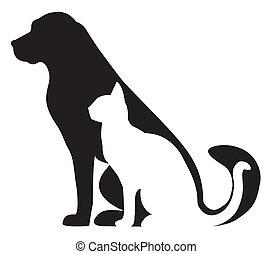 צלליות, חתול, תרכובת, כלב