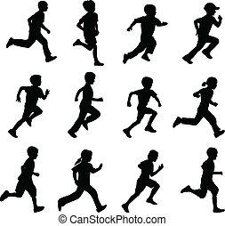 צלליות, לרוץ, ילדים