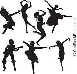 צלליות, לרקוד, נשים