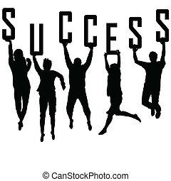 צלליות, מושג, צעיר, הצלחה, התחבר