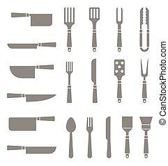 צלליות, קבע, cutlery.
