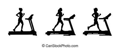 צלליות, קבע, treadmill., נקבה