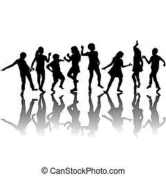צלליות, קבץ, ילדים, לרקוד