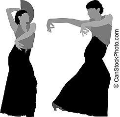 צלליות, רקדן, פלאמאנכו, שני, נקבה