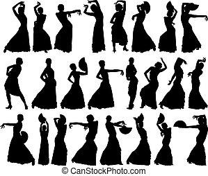 צלליות, רקדן, שחור, פלאמאנכו, נקבה