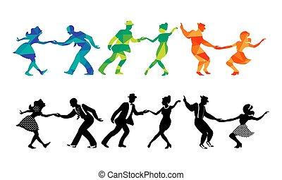 צלליות, שלושה, זוגות, לרקוד, קבע