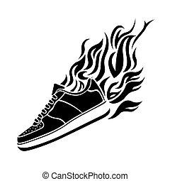 צללית, דוגמה, להריץ נעל, רקע, איקון