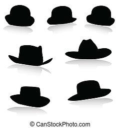 צללית, וקטור, כובע, שחור