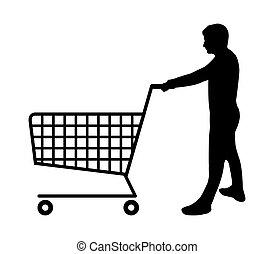 צללית, עגלה של קניות, איש