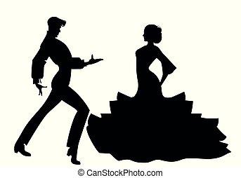 צללית, קשר, רקדנים, ספרדי, פלאמאנכו, טיפוסי