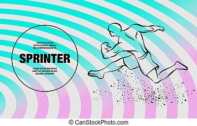 צללית, תאר, illustration., ליניארי, runner., חזק, וקטור, לרוץ, ספורטאי