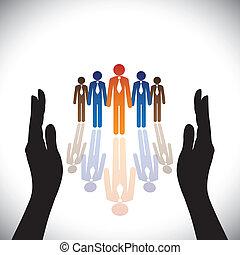 צללית, concept-, חברה, secure(protect), העבר, עובדים, של איגוד מקצועי, או, מנהלים