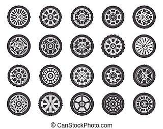 צעד, מכונית, איקונים, רכב, רוץ, גומי, מכונית, גלגלים, צמיגים, וקטור, דוגמה, התעייף, גלגל, מכונית, צמיגים, rims., קבע, מסלולים