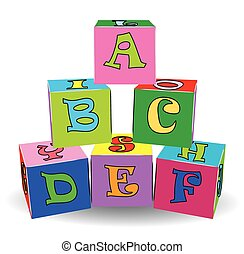 צעצועים, צבעוני, מכתב, קוביות