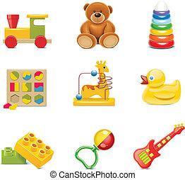צעצוע של תינוק, icons., וקטור, צעצועים