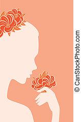 צפה, פרחים, אישה