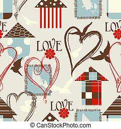צפרים, אהוב, תבנית, seamless, לבבות, כלובים
