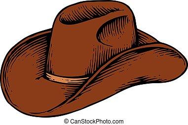 קאובוי, בציר, -, דוגמה, חרות, וקטור, (hand, צייר, style), כובע