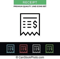 קבלה, מכירות, וקטור, קו רזה, icon., איקון