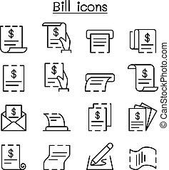 קבלה, סיגנון, קבע, חשבן, רכוש, רזה, חשבון, קו, איקון