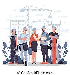 קבלנים, אדריכל, מנהל עבודה, הנדס
