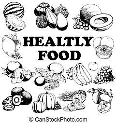 קבע, אוכל., העבר, צייר, דוגמה, בריא