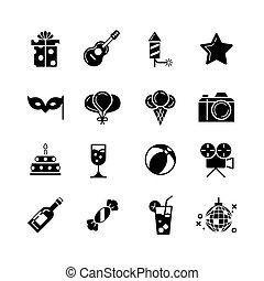 קבע, איקונים, יום הולדת, חופשות, וקטור, שחור, מפלגה