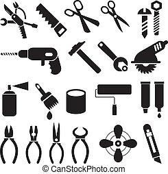 קבע, איקונים, עבודה, -, וקטור, כלים