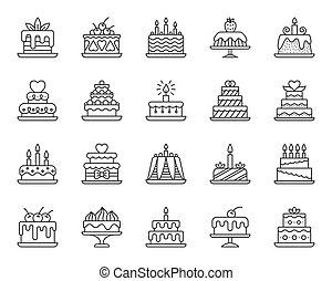 קבע, איקונים, פשוט, קינוח, וקטור, שחור, עוגה, קו