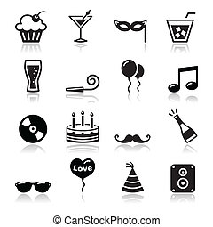 קבע, איקונים, yea, -, יום הולדת, מפלגה, חדש