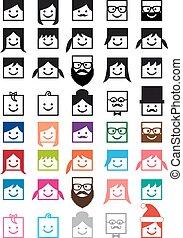 קבע, אנשים, avatars, וקטור, משתמש, איקון