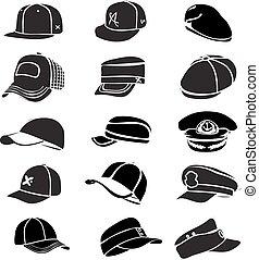 קבע, הכתר, הפרד, וקטור, בייסבול, דפוק, כובע לבן, איקון