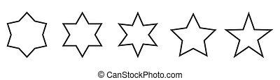 קבע, וקטור, icons., ככב, stars., תאר